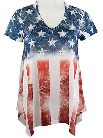Big Bang Clothing Company - Vertical Flag Cap Sleeve V-Neck Rhinestone Print Top
