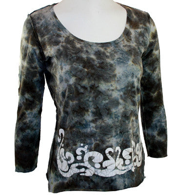 Cut Cute Couture 3/4 Sleeve, Tie-Dyed Black and Blue Print, Top Reverse Seams - Onyx