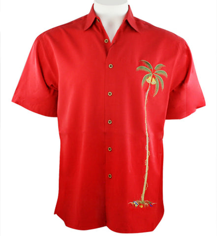 Bamboo Cay - Merry X-Mas Red Single Palm, Holiday Themed Tropical Style Shirt
