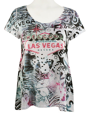 Big Bang Clothing Company - Las Vegas Welcome Short Sleeve Rhinestone Print Top