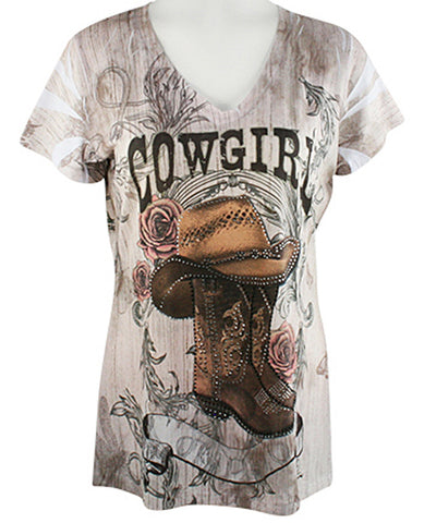 Big Bang Clothing Company Cowgirl Vintage Cap Sleeve V-Neck Rhinestone Print Top