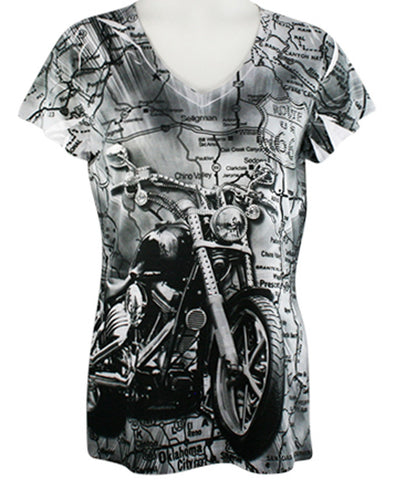 Big Bang Clothing Company - Route 66 Motorcycle, V-Neck Rhinestone Print B/W Top