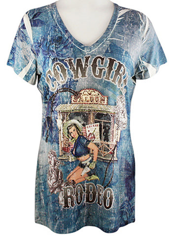 Big Bang Clothing Company - Cowgirl, Cap Sleeve, V-Neck Rhinestone Print Top