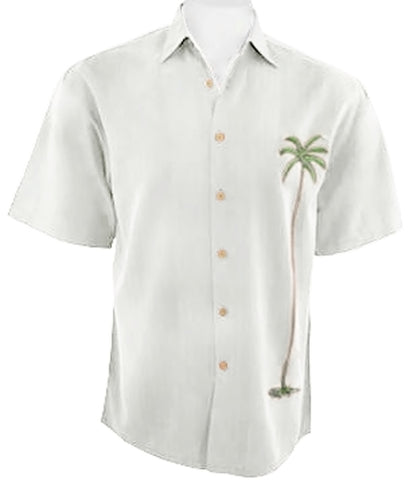 Bamboo Cay - Palm Island Tropical Style Embroidered Button Front Off-White Shirt