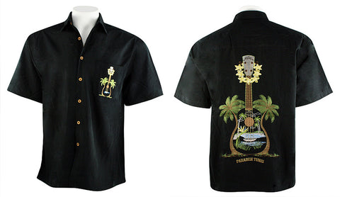 Bamboo Cay - Paradise Tunes, Tropical Style Embroidered Back Casual Men's Shirt