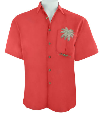 Bamboo Cay - Peekaboo Palm, Embroidered Tropical Style Tomato Color Men's Shirt
