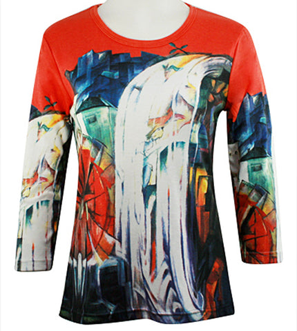 Breeke - Waterfall, Scoop Neck, Hand Silk Screened 3/4 Sleeve Artistic Top