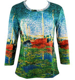 Monet Red Boats in Argenteuil, 3/4 Sleeve Hand Silk-Screened Novelty Art Top