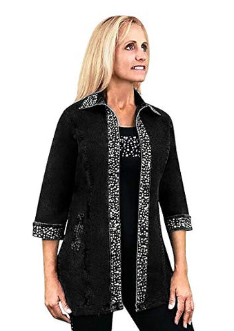 Tia Designs Ice Swing, Rhinestone Accented Sleeves & Collar 3/4 SLV Swing Jacket