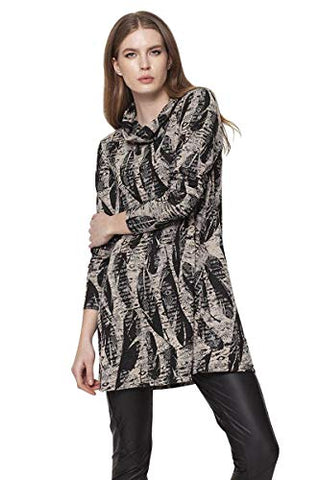 Isle Apparel - Domani, 3/4 Sleeve, Cowl Neck Women's Patterned Trendy Tunic Top