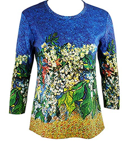 Van Gogh Chestnut Branch, Scoop Neck 3/4 Sleeve Hand Silk-Screened Art Top