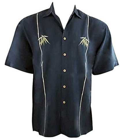 Bamboo Cay Dual Bamboo Tropical Style Navy Blue Background Embroidered Shirt