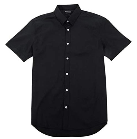 Stitch Note Classic Styled Short Sleeve Button Down Black Men's Shirt