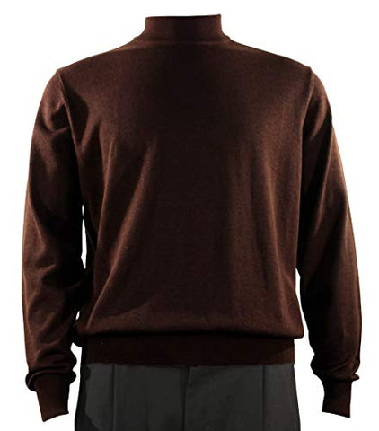 Bassiri Mock Neck, Full Cut, Long Sleeve. Knit Men's Brown Sweater