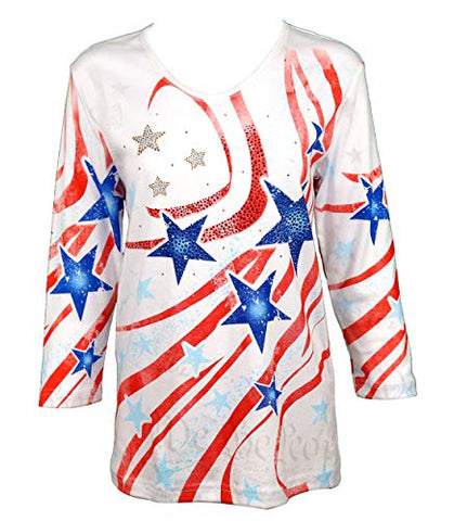 Cactus Bay - Patriot Party, 3/4 Sleeve, V-Neck, Patriotic Theme Cotton Top