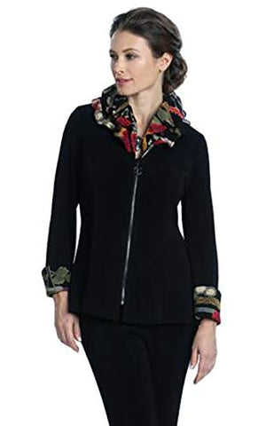 IC Collection Asian Style Jacket Oriental Floral Zip Front Double Layer Adjustable Collar