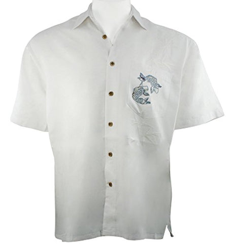 Bamboo Cay -Charming Koi, Off White Embroidered Men's Shirt
