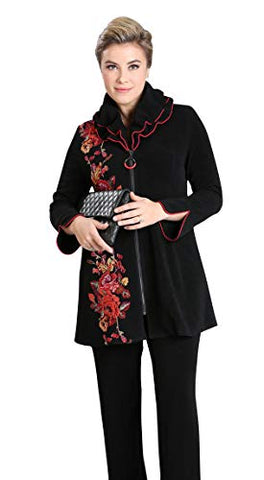 IC Collection Oriental Floral Zip Front Asian Style Jacket Double Collar Trimmed Sleeves