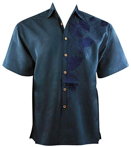 Bamboo Cay Island Leaf Nation, Embroidered Tropical Style Navy Blue Shirt - LG