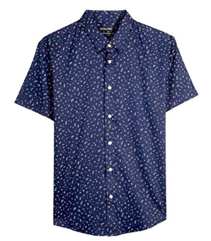 Stitch Note Floral Pattern Print Short Sleeve Button Down Blue Casual Shirt