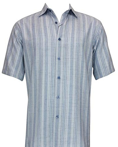 Bassiri - Blue Stripes, Button Front Short Sleeve Square Hem Blue Striped Shirt