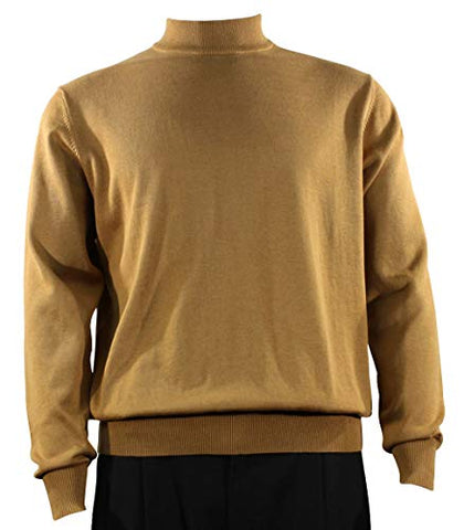 Bassiri Mock Neck, Full Cut, Long Sleeve. Knit Men's Gold Sweater