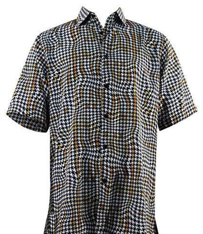 Bassiri - Random View, Button Front Short Sleeve Square Hem Black & White Men's Shirt