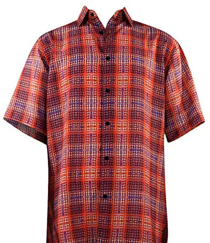 Bassiri Plaid Pattern Button Front Short Sleeve Square Hem Red & Blue Men's Shirt