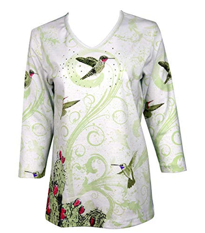 Cactus Bay Cactus Hummer, 3/4 Sleeve V-Neck Rhinestone Accent Cotton Top