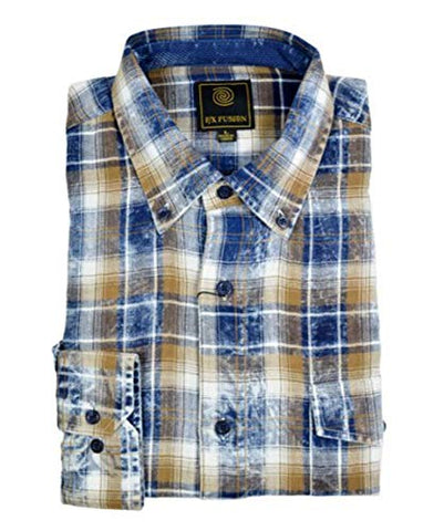 FX Fusion Navy Gold Washed Plaid Long Sleeve Men's Shirt with Button Down Collar