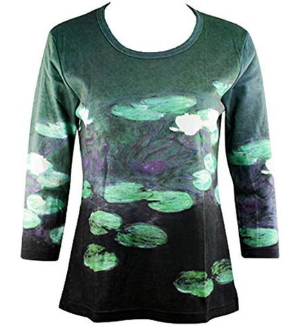 Monet Waterlilies in Pond, Scoop Neck 3/4 Sleeve Hand Silk-Screened Art Top