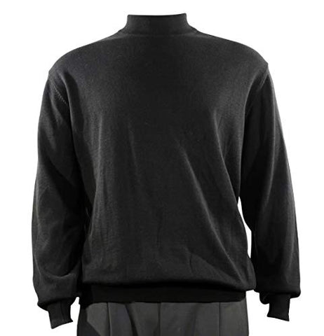 Bassiri Mock Neck, Full Cut, Long Sleeve. Knit Men's Black Sweater