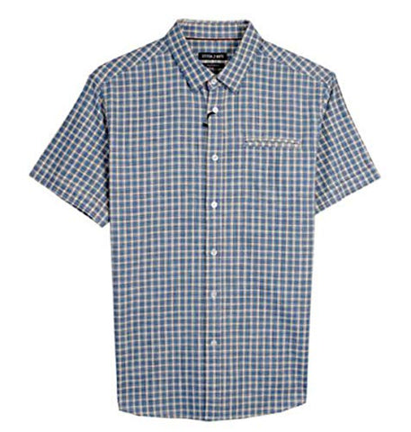 Stitch Note Yarn Dyed Blue Checks Button Down Casual Men's Shirt