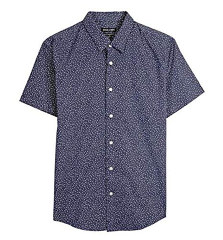 Stitch Note White Floral Print Short Sleeve Button Down Men's Casual Shirt
