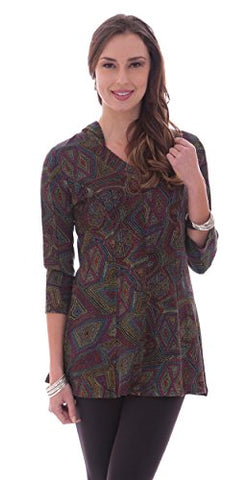 Parsley & Sage - Erin, 3/4 sleeve, hoodie tunic with geometric accents