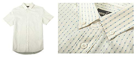 Stitch Note Vintage White Short Sleeve Button Down Casual Men's Shirt