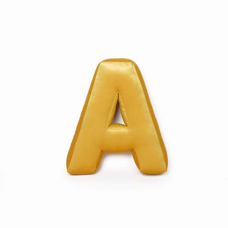 Mustard Alphabet (A-Z and &) Letter Cushion
