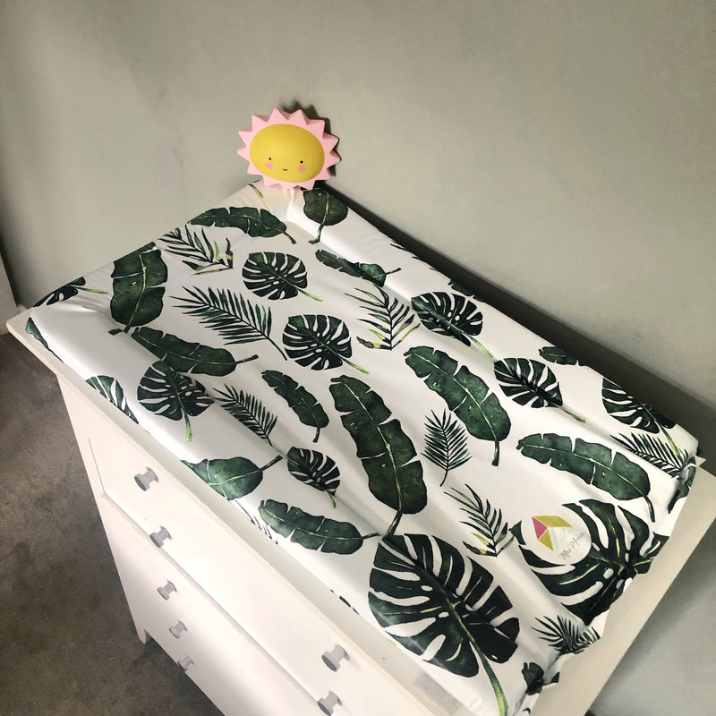 Green Tropical Leaf Baby Changing Pad
