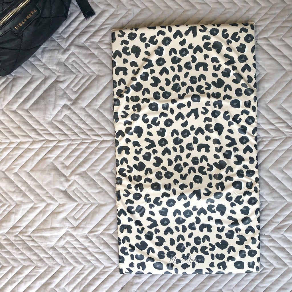 Neutral Leopard Print Travel Changing Mat