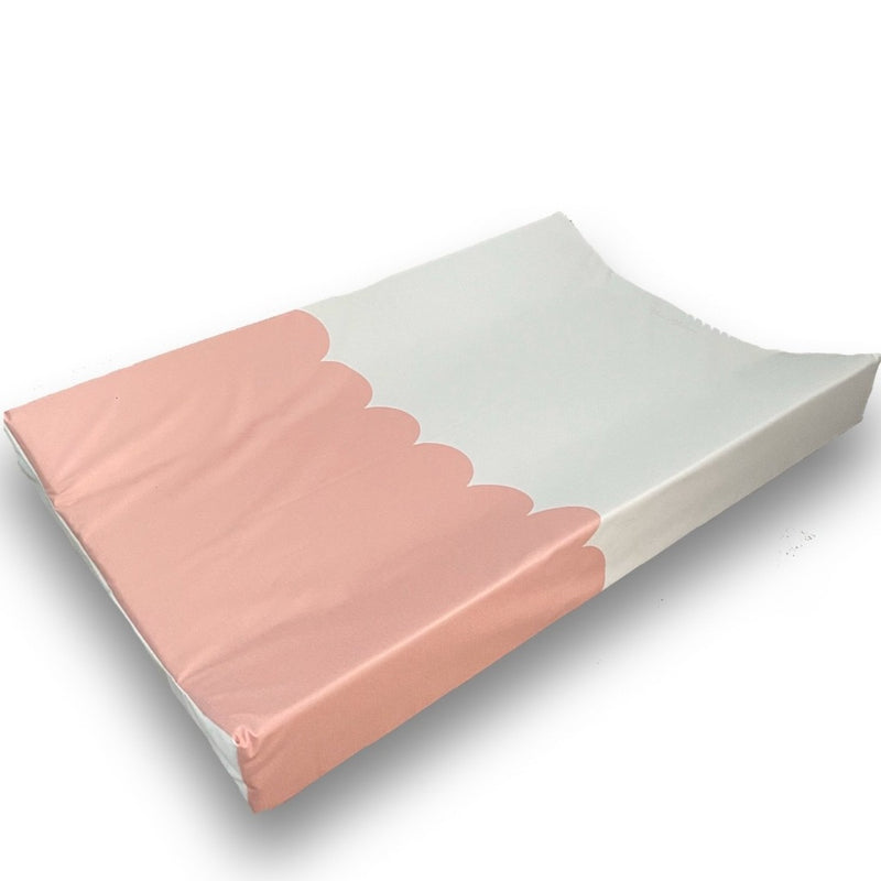 Pink Scallop Anti-Roll Wedge Changing Mat