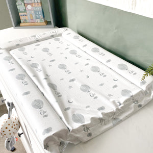 grey hot air balloon baby changing mat