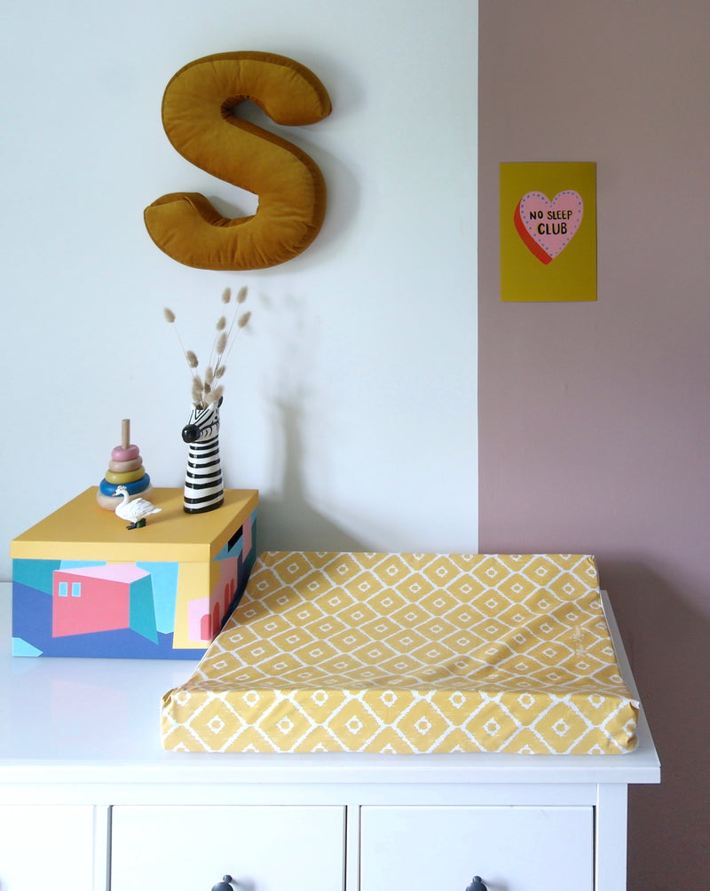Mustard Ikat Anti-Roll Wedge Changing Mat