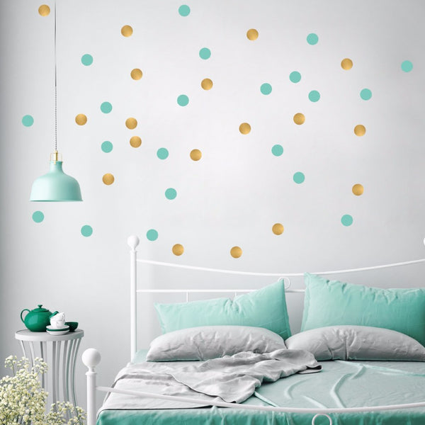 Pöm Le Bonhomme Gold and Mint Green dot Wall Stickers