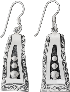 Sterling Retro Graduated Bead Earrings #011-126