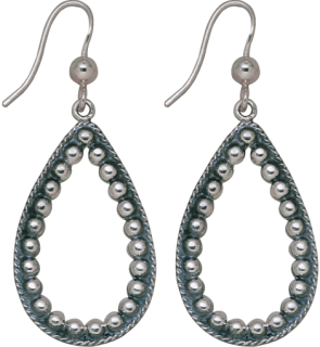 Sterling Large Cut out Teardrop w/ Beads Earring #011-328