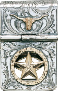 Sterling Hinged Money Clip w/ Gold Filled Star #021-086