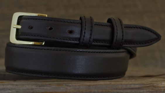 Leather Belt - Smooth Black Tapered