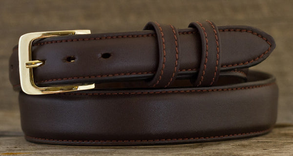 Leather Belt - Smooth Brown Tapered Calf