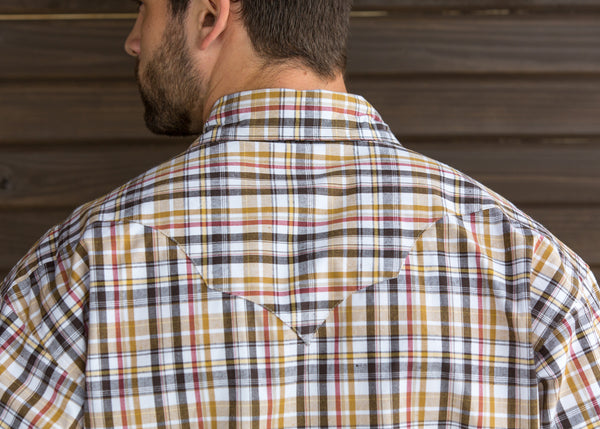 Brown and White Plaid Western Shirt
