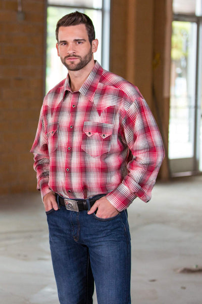 Red and White Cotton Plaid Western Shirt